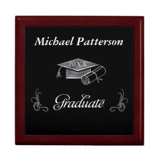 Graduation Black & Silver 3D Look, Cap & Diploma Large Square Gift Box