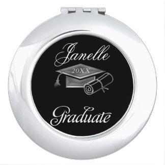 Graduation Black & Silver 3D Look, Cap & Diploma Makeup Mirrors