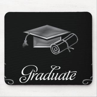 Graduation Black & Silver 3D Look, Cap & Diploma Mouse Pad