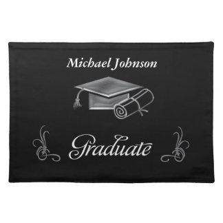 Graduation Black & Silver 3D Look, Cap & Diploma Place Mat