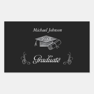 Graduation Black & Silver 3D Look, Cap & Diploma Rectangular Sticker