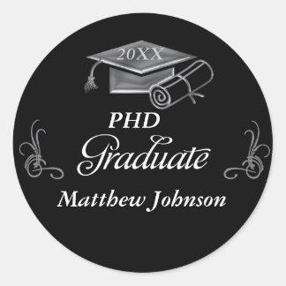 Graduation Black & Silver 3D Look, Cap & Diploma Round Sticker