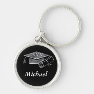 Graduation Black & Silver 3D Look, Cap & Diploma Silver-Colored Round Key Ring