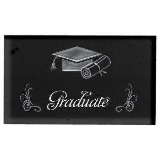 Graduation Black & Silver 3D Look, Cap & Diploma Table Card Holder