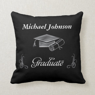 Graduation Black & Silver 3D Look, Cap & Diploma Throw Pillow