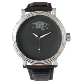 Graduation Black & Silver 3D Look, Cap & Diploma Watches
