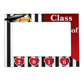 Graduation | Black & White Stripes Magnetic Frame
