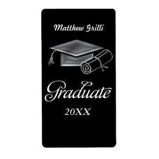 Graduation Cap and Diploma Black & Silver 3D Look Shipping Label