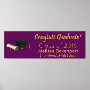 Graduation Cap and Diploma Congrats Graduate Poster