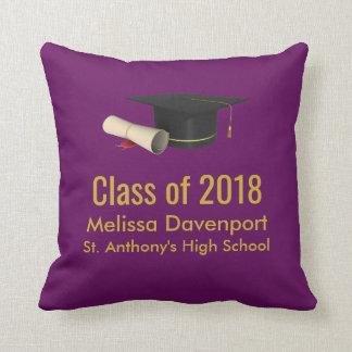 Graduation Cap and Diploma on Purple Class of 20XX Cushion