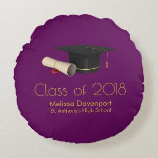 Graduation Cap and Diploma on Purple Class of 20XX Round Cushion