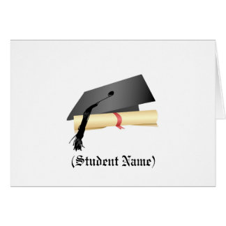 Graduation Cap and Diploma,Personalized Stationery Greeting Card