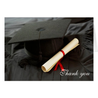 Graduation cap and gown thank you greeting card