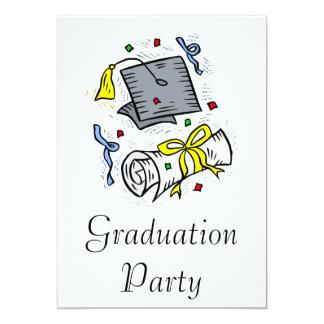 Graduation Cap & Diploma 13 Cm X 18 Cm Invitation Card