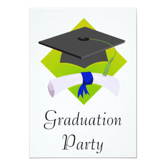 Graduation Cap & Diploma 13 Cm X 18 Cm Invitation Card