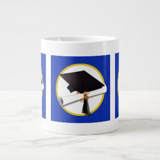 Graduation Cap Diploma 1 Blue Background Jumbo Mugs