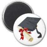 Graduation Cap & Diploma 6 Cm Round Magnet