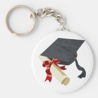 Graduation Cap & Diploma Basic Round Button Key Ring