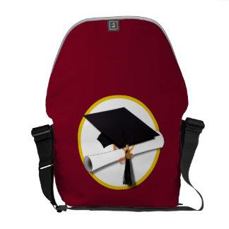 Graduation Cap & Diploma - Dark Red Background Commuter Bags