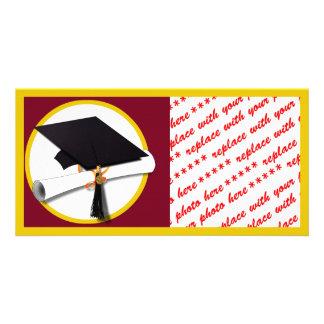 Graduation Cap & Diploma - Dark Red Background Custom Photo Card