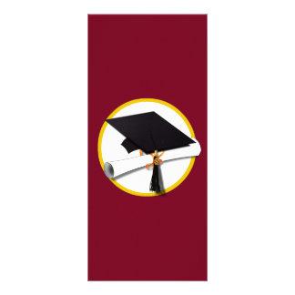 Graduation Cap & Diploma - Dark Red Background Rack Card