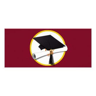 Graduation Cap & Diploma - Dark Red Background Personalised Rack Card