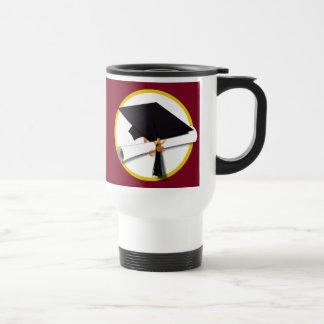 Graduation Cap & Diploma - Dark Red Background Stainless Steel Travel Mug