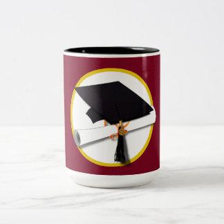 Graduation Cap & Diploma - Dark Red Background Two-Tone Mug