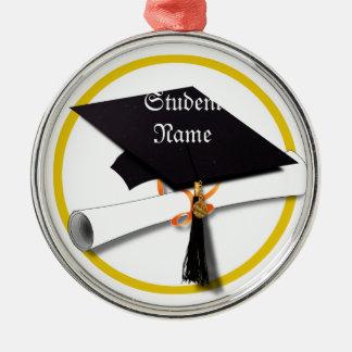 Graduation Cap & Diploma Silver-Colored Round Decoration