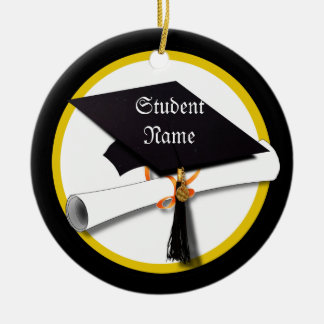 Graduation Cap & Diploma Double-Sided Ceramic Round Christmas Ornament