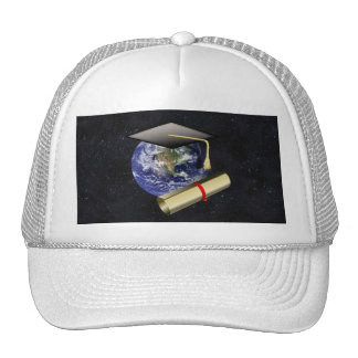 Graduation Cap, Earth w/diploma - Star Background Mesh Hat