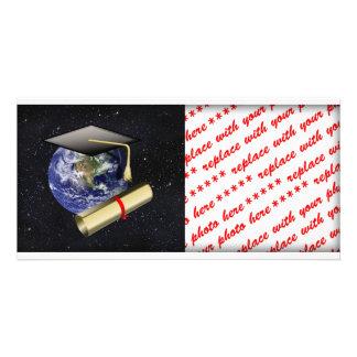 Graduation Cap, Earth w/diploma - Star Background Photo Greeting Card