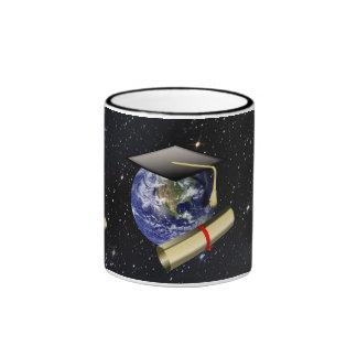 Graduation Cap, Earth w/diploma - Star Background Ringer Mug