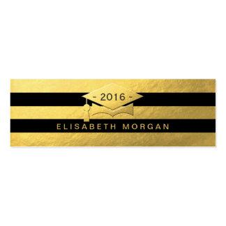 Graduation Cap Gold Black Stripes Insert Card Pack Of Skinny Business Cards