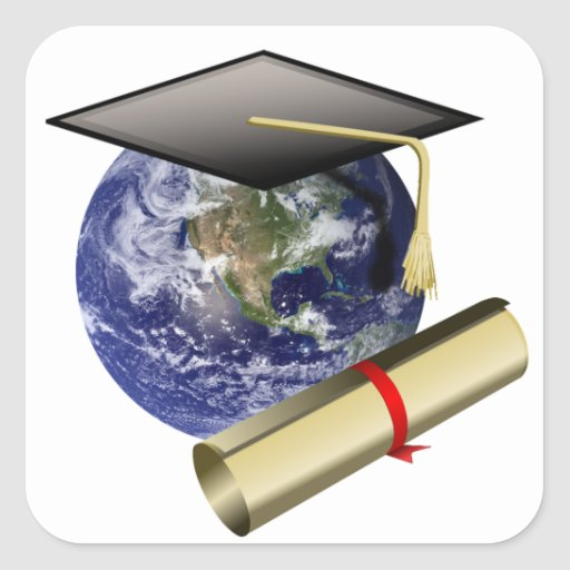 Graduation Cap on Earth Square Stickers