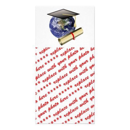 Graduation Cap on Earth with Diploma Customized Photo Card