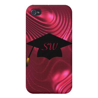 Graduation Cap On Red Swirls Case iPhone 4 Cover