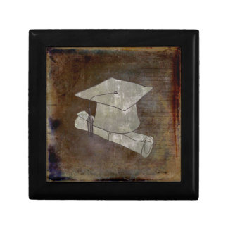 Graduation Cap on Vintage Paper with Writing Small Square Gift Box