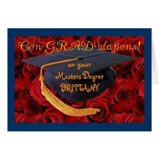 Graduation Cap+Roses-Customize Name and Degree! Card