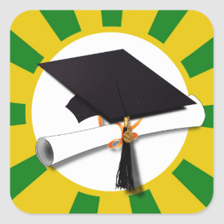 Graduation Cap - School Colors Gold and Green Square Sticker