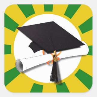 Graduation Cap - School Colors Gold and Green Square Sticker