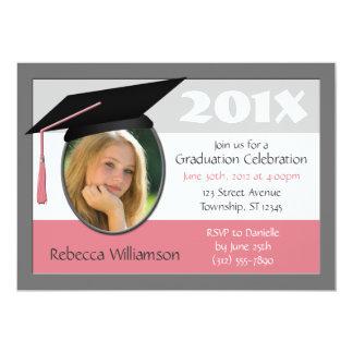 Graduation Cap & Tassel Photo Pink Invitations
