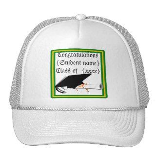 Graduation Cap Tilt School Colors Green And Gold Trucker Hat