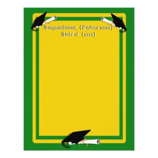 Graduation Cap Tilt School Colors Green And Gold 21.5 Cm X 28 Cm Flyer