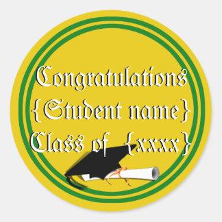 Graduation Cap Tilt School Colors Green And Gold Classic Round Sticker