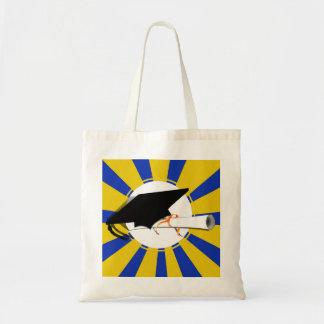 Graduation Cap Tilt W/ Blue & Gold School Colors Budget Tote Bag