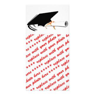 Graduation Cap Tilt With Diploma on Blank Photo Greeting Card