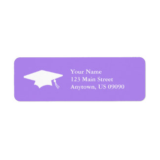 Graduation Cap (Violet Purple) Return Address Label