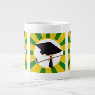 Graduation Cap w Diploma 1 - Gold Green Jumbo Mug