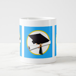 Graduation Cap w/Diploma - Blue Background Jumbo Mug